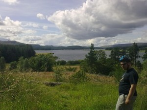 Andrew looks out over Carron Valley Reservoir