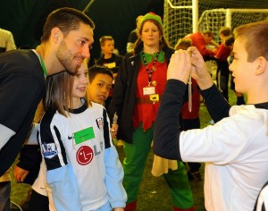 Nicola dressed as an Elf at a Fulham FC event