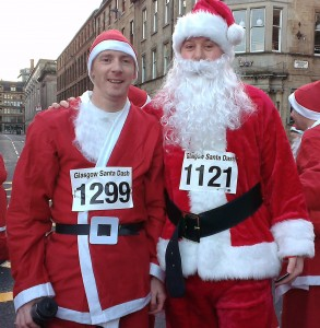 Me and Paul at the start of the 2012 Glasgow Santa Dash
