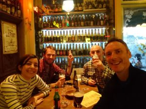 Jenny, George, Ade and Rob in Café Frapé