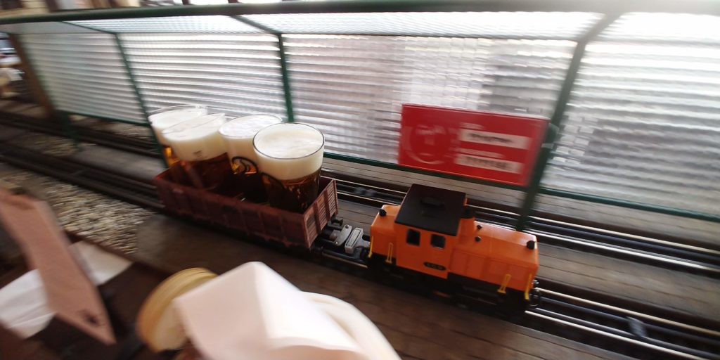 A beer train at the railway restaurant