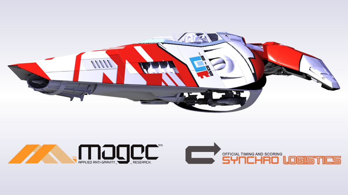 An AG Systems ship and logos from WipEout